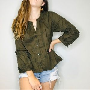 Madewell green embroidered button down blouse